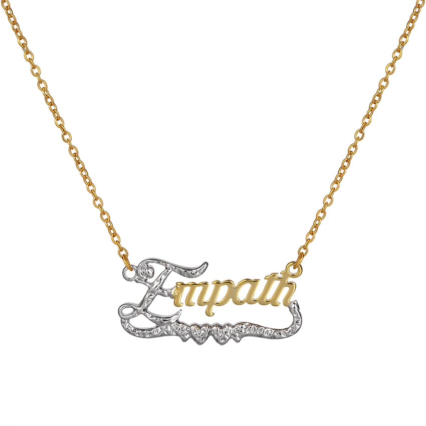 cfc24166ad7e Senfai personalizado nombre de dos tonos colgante collar personalizado  cursiva placa gargantilla ...