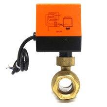 лучшая цена DN50 AC220V electric actuator brass ball valve,Cold&hot water/Water vapor/heat gas 2 way Brass Motorized Ball Valve