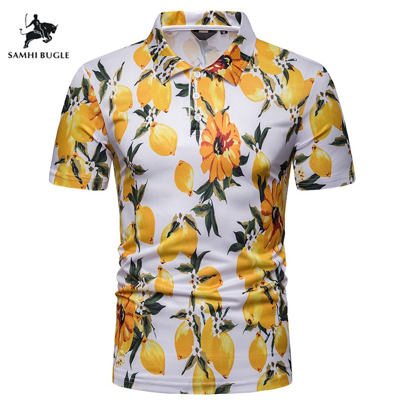 2019 New Fashions Brands   Polo   Shirt Men Floral Print Short Sleeve Slim Fit Summer Collar Shirt   Polos   Boys Casual Mens Clothing