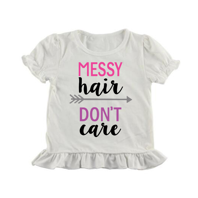 curly hair dont care shirt letter painting ruffle t shirt summer girl icing shirts short sleeve