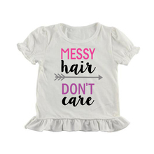 curly hair dont care shirt letter painting ruffle t-shirt summer girl icing shirts short sleeve icing t-shirts for baby girl