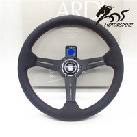 Steering Wheel Leather Steering Wheel Deep Dish Corn Racing 350mm Black Perf Leather With Red Stitch