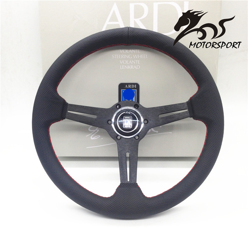 Steering Wheel /Leather Steering Wheel flat style Corn Racing 350mm Black Perf Leather with Red stitch runba breathable leather steering wheel cover sets black white red
