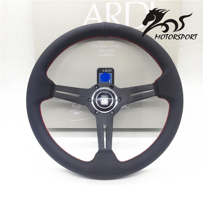 Volante/Volante In Pelle stile piatto Corn Racing 350mm Nero Perf Pelle con Red stitch