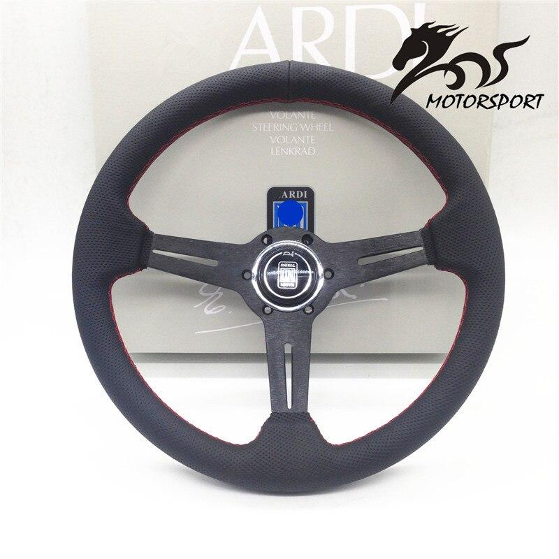 Volante/volante de cuero plano maíz estilo Racing 350mm negro PERF de cuero con costura roja