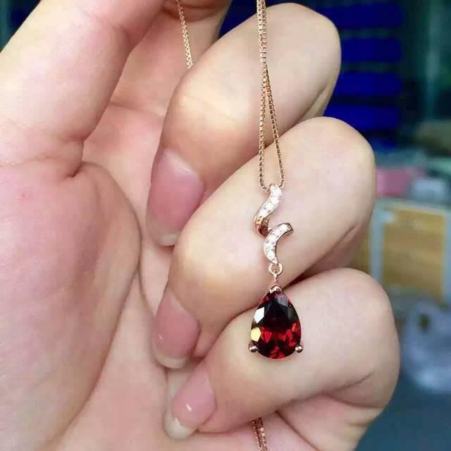 natural red garnet stone pendant 925 Sterling silver Natural gemstone Pendant Necklace trendy Elegant waves women girl jewelry