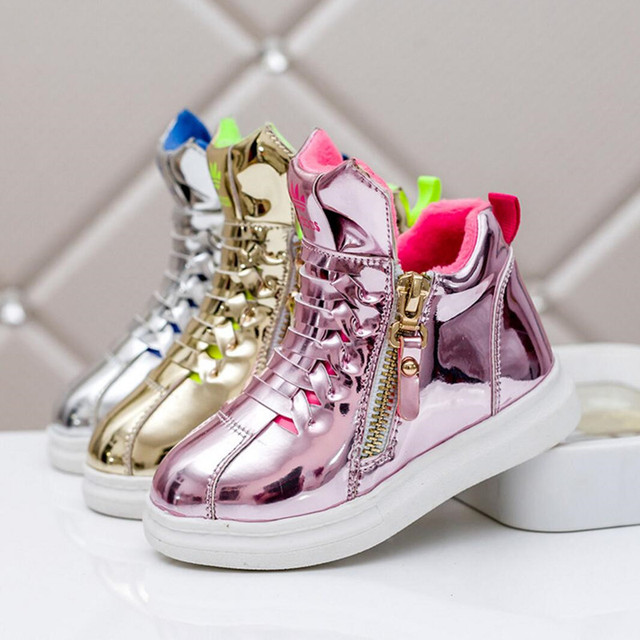 Girls Autumn 2016 New Sneakers High Top Non-slip Breathable Boys Casual Shoes Bright Golden Silver Children Boots Kids Baby's