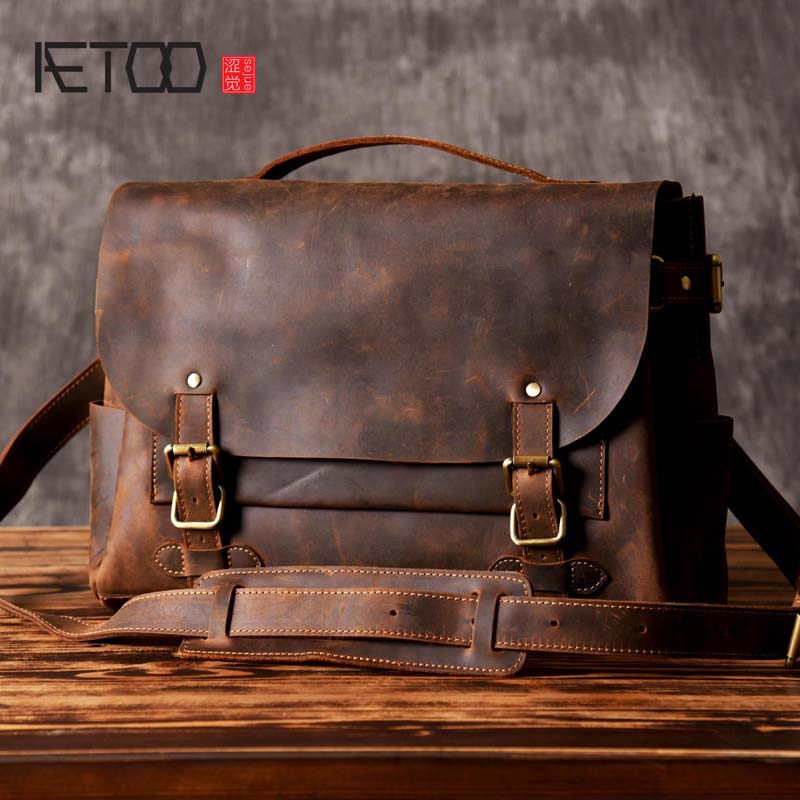 AETOO 14 Real Leather Document Briefcase Retro Men Business Bags Crazy Horse Mens Handbags Genuine Cow Leather Bag for Computer joyir men briefcase real leather handbag crazy horse genuine leather male business retro messenger shoulder bag for men mandbag