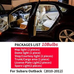 10 stücke Auto zubehör LED Innen Glühbirnen kits Für 2010-2012 Subaru Outback Karte Dome Trunk Kennzeichen lampe b