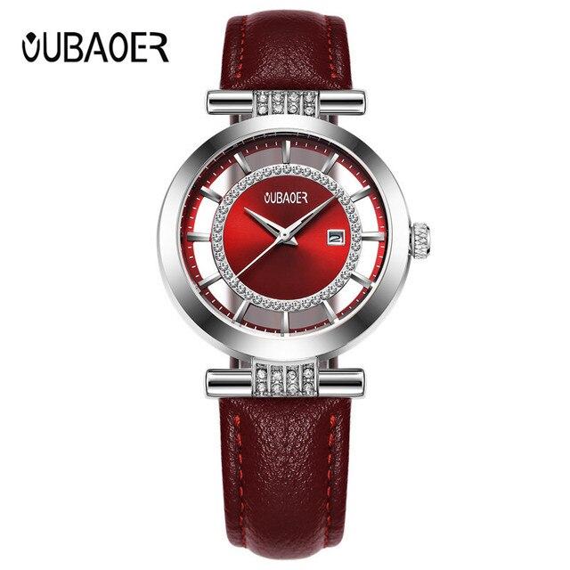 OUBAOER Fashion Leather Bracelet Watches Women Top Luxury Brand Ladies Quartz Wa