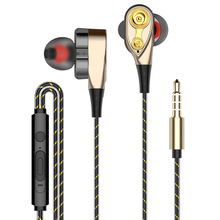 Super Bass Sound Earphone Dual Unit Stereo Wired Headphone earphones with microphone Headset For Computer MP3 Smartphone Samsung стоимость