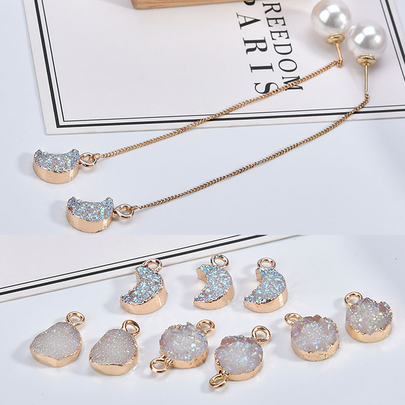 New Korean Version Of The Simple Illusion Color Moon Double Pendant Accessories DIY Earring Material