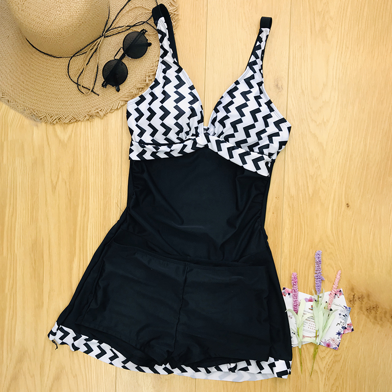 2019 Plus Size Swimwear Women Skirt Tankini Swimsuit Two Piece Retro Black Bathing Suit Large Size swimming suit for Women S-5XL