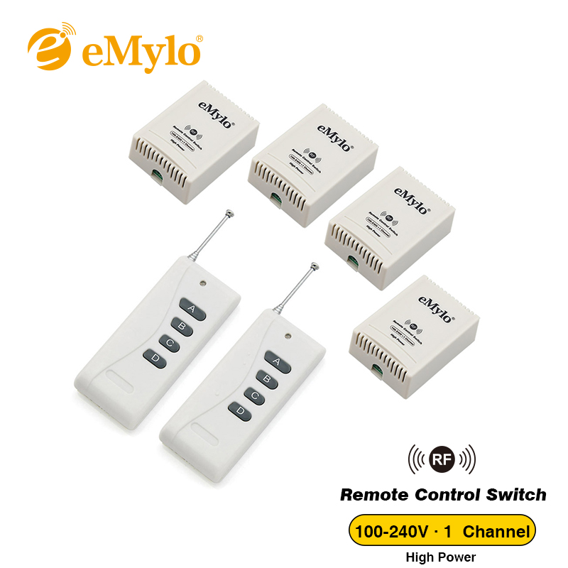 eMylo RF AC 100-240V 2500W Smart Switch, Wireless Remote Control Light Switch White Color Transmitter 4X 1 Channel Relays Toggle new design y a4e 1000wx4 4 channel rf remote control wireless switch white 200 240v