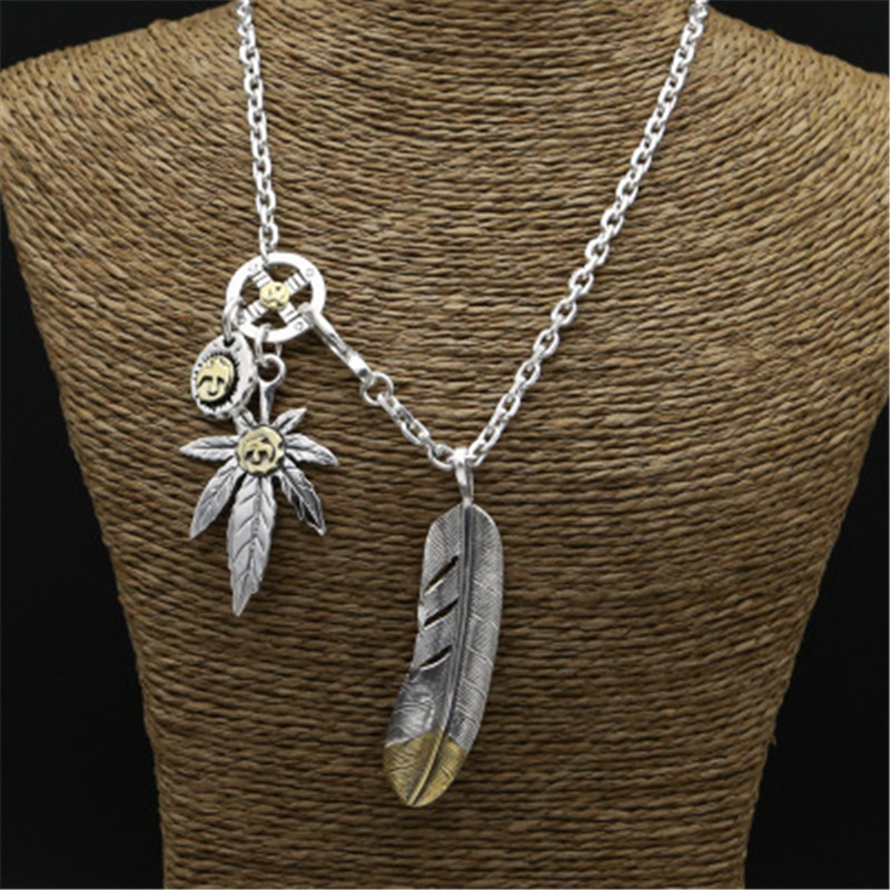 Vintage Indian Style Pure Silver 925 Long Necklace Men Women Handmade Sterling Silver Jewelry Eagle Tag Feather & Leaf Pendants vintage alloy tree leaf feather layered necklace