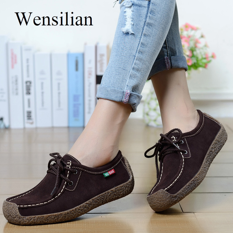 Summer Flat Shoes Women Leather Shoes Slip-On Loafers Women Square Toe Flats Lace-Up Ladies Shoes Black Footwear mocasines mujer(China)