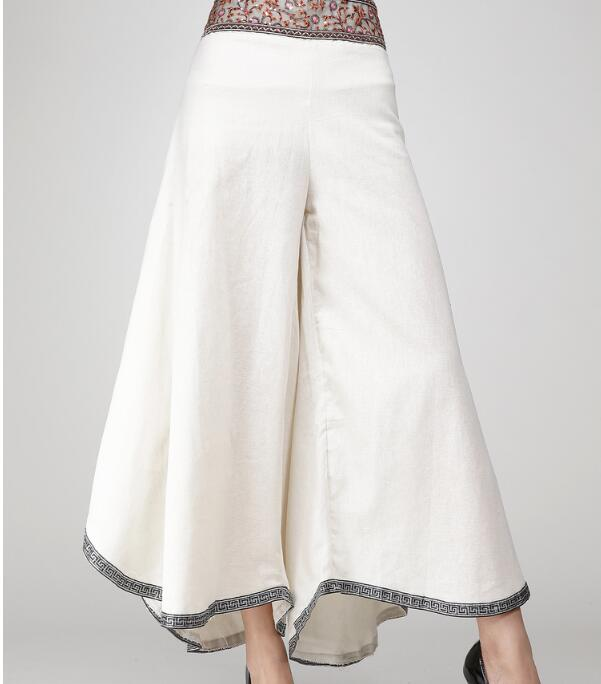 Summer 2019 Women Ethnic Style High waist Embroidery printed pants Ladies girls Elastic waist Cotton Linen Wide leg p