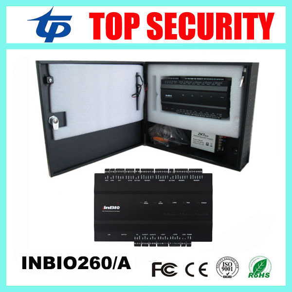 2 doors TCP/IP biometric fingerprint and RFID card access control panel system control board with power supply box ZK inbio260