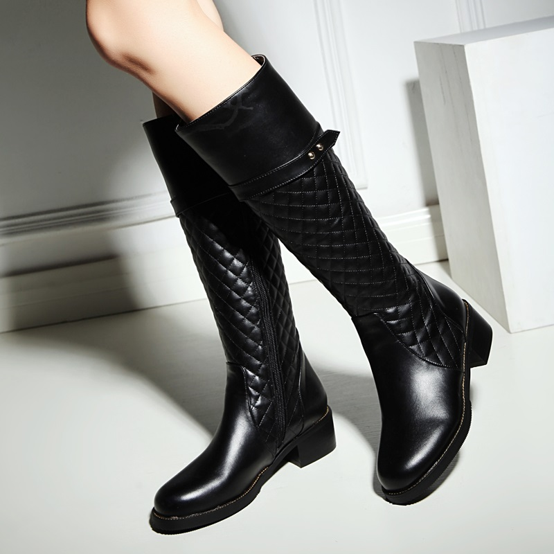 Apricot Black Boots 2015 Women s Winter Low heel Knight Boots Round Comfortable Stylish Calf Boots