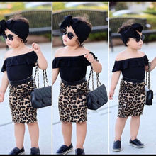 New Stylish Toddler Baby Girl Outfit Off Shoulder Solid Color Tank Shirt Top High Waist Leopard Sheath Skirt Summer Clothes 1-6Y