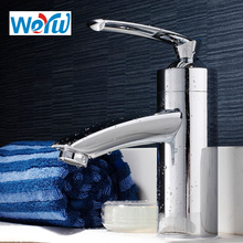 WEYUU Basin Faucet Bathroom Faucet Vessel Sink Water Tap Cold and Hot Mixer Chrome Finish Brass Single Hole