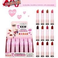 24Pcs/lot 12 Colors Professional Beauty Matte Lipstick Long Lasting Tint Cosmetics Lip Gloss Moisturizing Care Nourishing