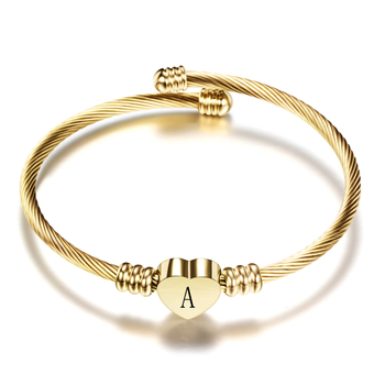 Adjustable Gold Color Stainless Steel Heart Bracelet Bangle With Letter Fashion Initial Alphabet Charms for Women 2