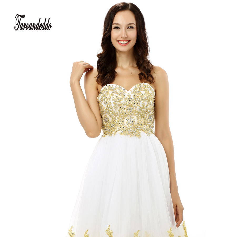 Sweetheart Gold Lace Applique A line White Tulle Short Prom Dress ...