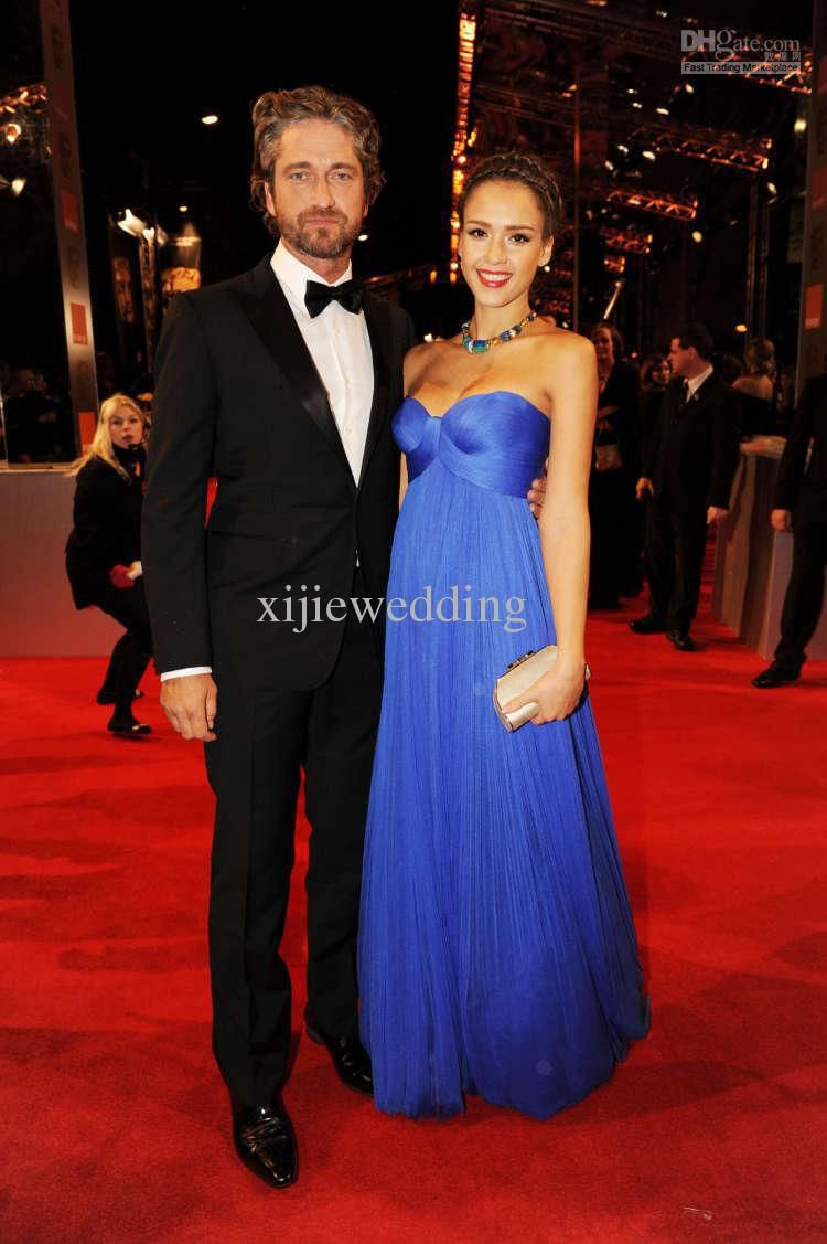 free shipping 2018 vestidos Custom sweetheart Elegant Strapless Royal Blue Empire the Oscar party prom Gown   bridesmaid     dresses