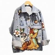 New 2017 Autumn Women Street Animal Sequins Jeans Jackets Long Sleeve Loose Hole Denim Coat Mori Girl Student Plus Size L1170
