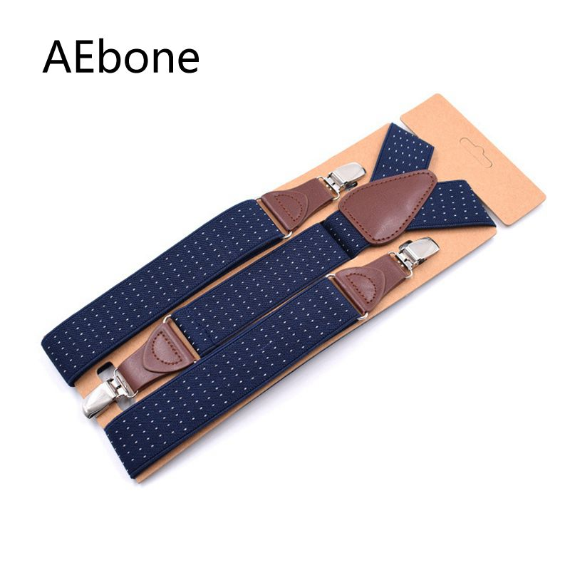 AEbone Polka Dot Navy Suspenders Men For Pants Casual Strap Trousers Vintage Men Brace Bretele Masculino 120CM Sus32