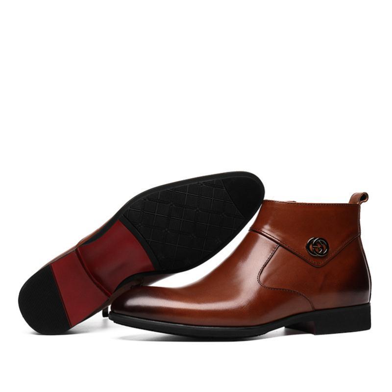 72f4fc1d008 MYCOLEN New 2018 Autumn Early Winter Shoes Men Business Chelsea Boots  Zipper Leather Shoes Fashion Men's Brand Ankle Boots
