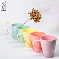 Free Shipping 2016 pinky color Ceramic Round mug Warm gift Milk Cup zakka couple cups coffee lovely 6 Colors