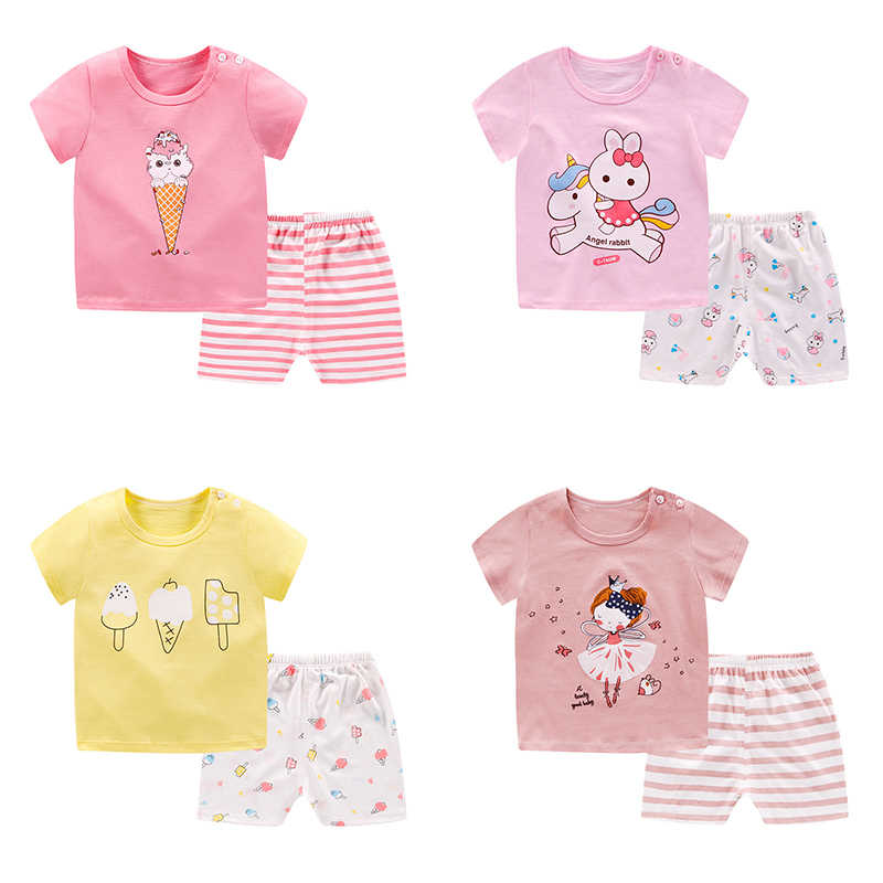 pyjamas kids cotton toddler cartoon children pajamas sets for baby girls boys short sleeve summer sleepwear pyjama enfant garcon