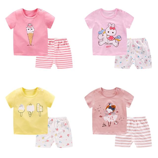 pyjamas kids cotton toddler cartoon children pajamas sets for baby girls boys short sleeve summer sleepwear pyjama enfant garcon