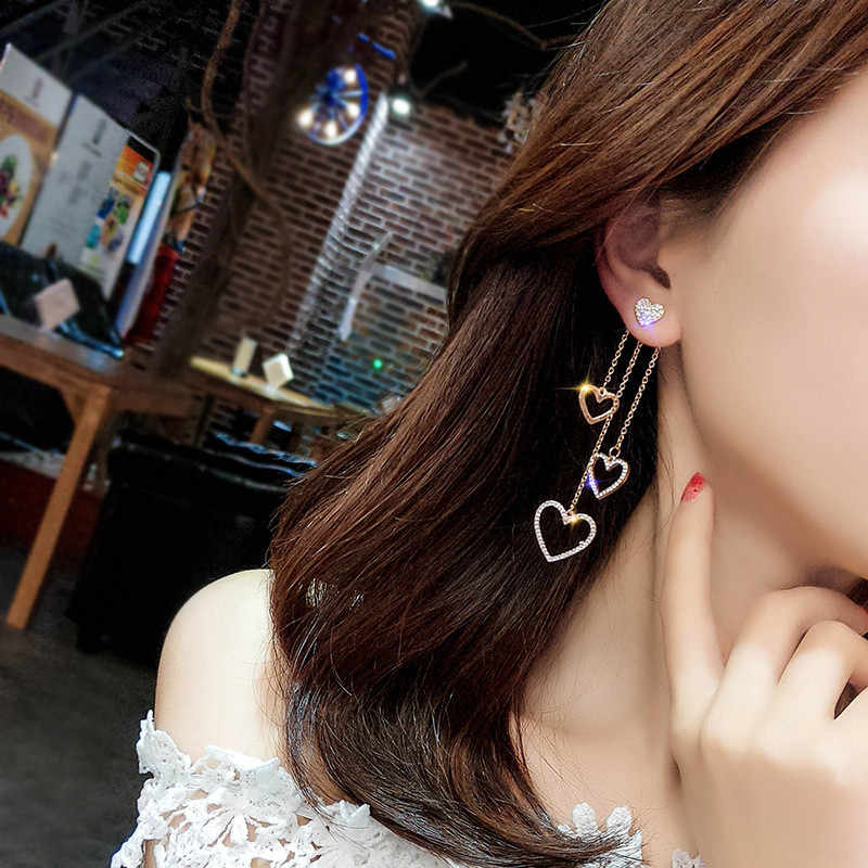 Korean Charm Jewelry asymmetrical butterfly Tassel Crystal Heart Earrings for Women FashionDrop Earring Luxury Jewelry Gift