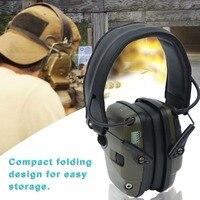 Earmuff tiro eletrônico esportes ao ar livre anti-ruído amplificador de som tático fone de ouvido protetor auditivo dobrável