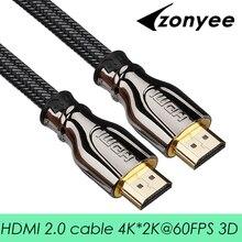 Zonyee HDMI кабель высокого Скорость 2.0 Версия 3D 4 К 60fps кабель для HD ТВ ЖК-дисплей PS3 проектор 1 м 2 м 3 м 5 м 8 м 10 м 15 м 20 м кабель HDMI