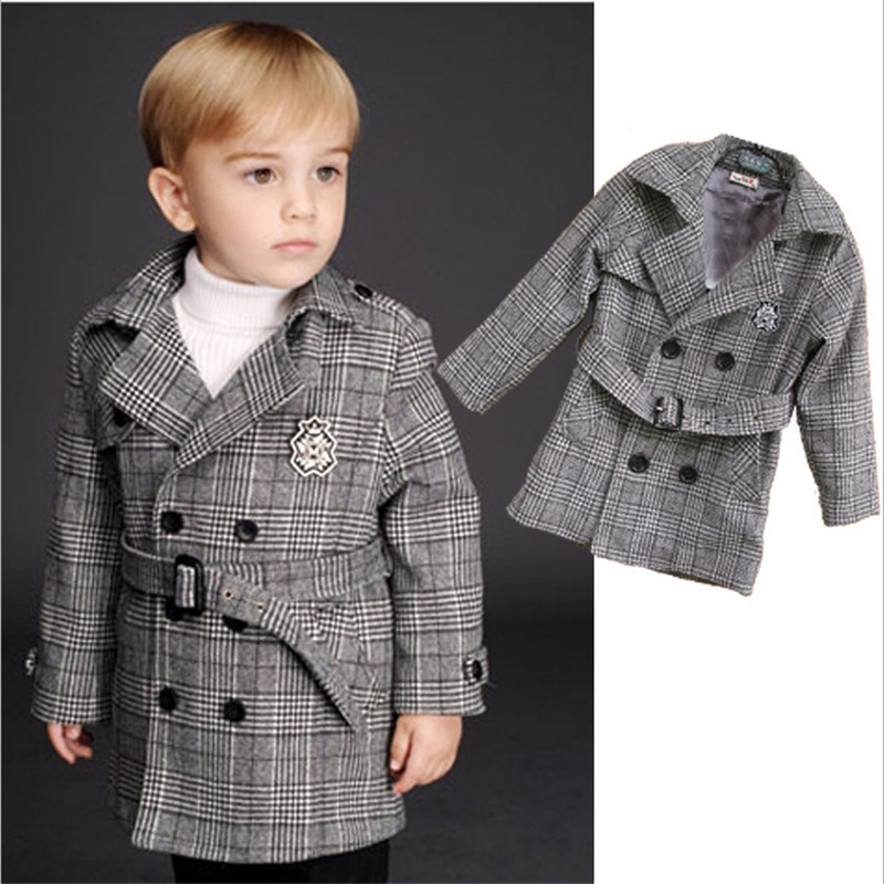 ФОТО Novatx baby boy clothes winter new coats fashion plaid trench Double breasted wool&blends kids clothes long style boys outerwear