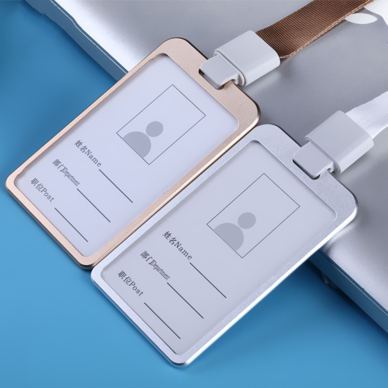 1PC Metal ID Badge Card Holder Business Security Pass Tag Holder With Lanyard Office Company Supplies Work Bus Card Holder