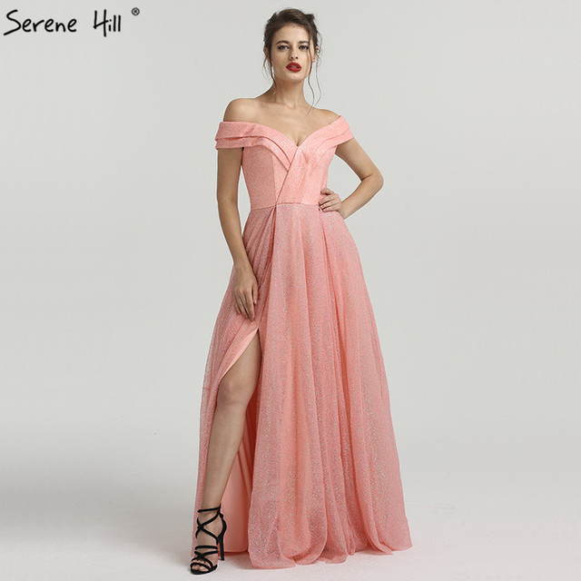 Peach Pink Luxury Sparkle Tulle Evening Dresses Sequined Off ...