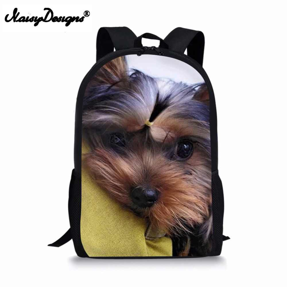 8f0f37cde7 New 3D Animals Yorkshire Terrier Print Backpack For Teenage Children School  Bags Women Men Urban Boys