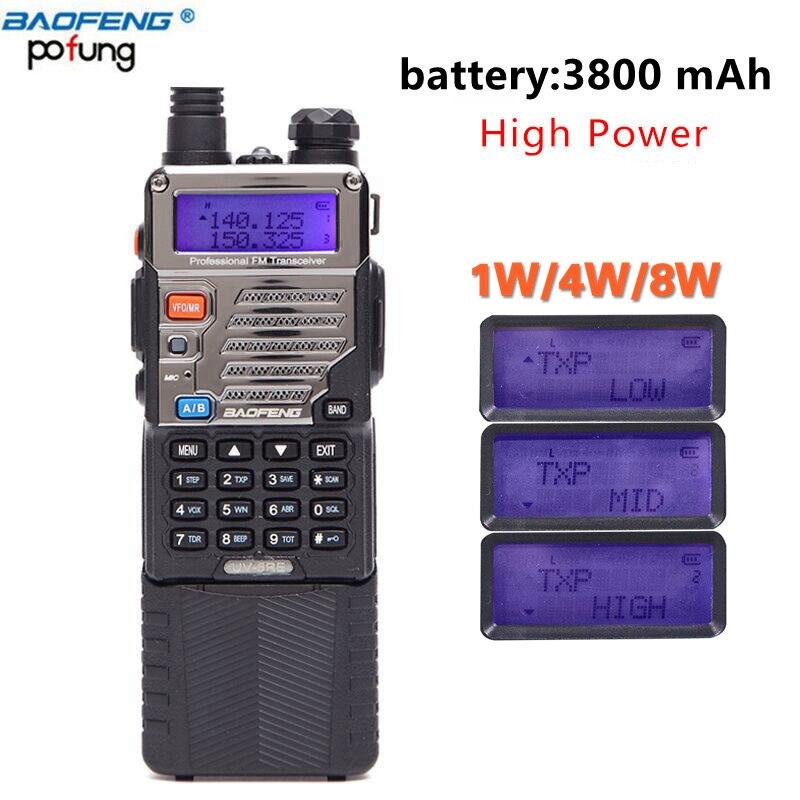 BAOFENG UV-5RE 8 w puissant Talkie Walkie 3800 mah 10 km longue portée uhf vhf Bande portable cb ham radio mise à niveau de UV5RE pour la randonnée