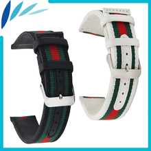 Nylon Leather Watch Band 22mm for Amazfit Huami Xiaomi Smart Watchband Strap Wrist Loop Belt Bracelet Black White + Spring Bar