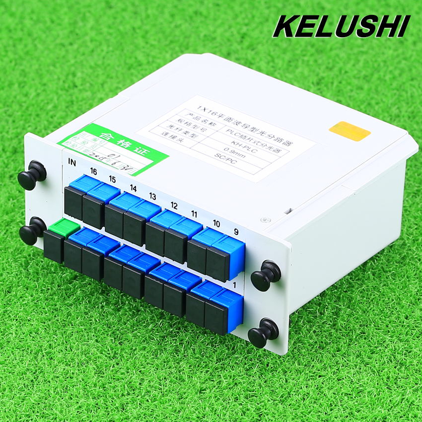 KELUSHI Fiber Branching Device Optical divider 1x16 Box Cassette Card Inserting PLC Splitter SC Connector Fiber