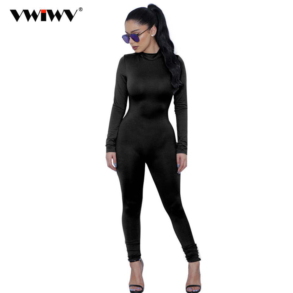 2018 New Hot Casual Women One Piece Jumpsuits Long Sleeve Turtleneck Bodycon Back Zipper Long Pants Sexy Outfits Grey Rompers