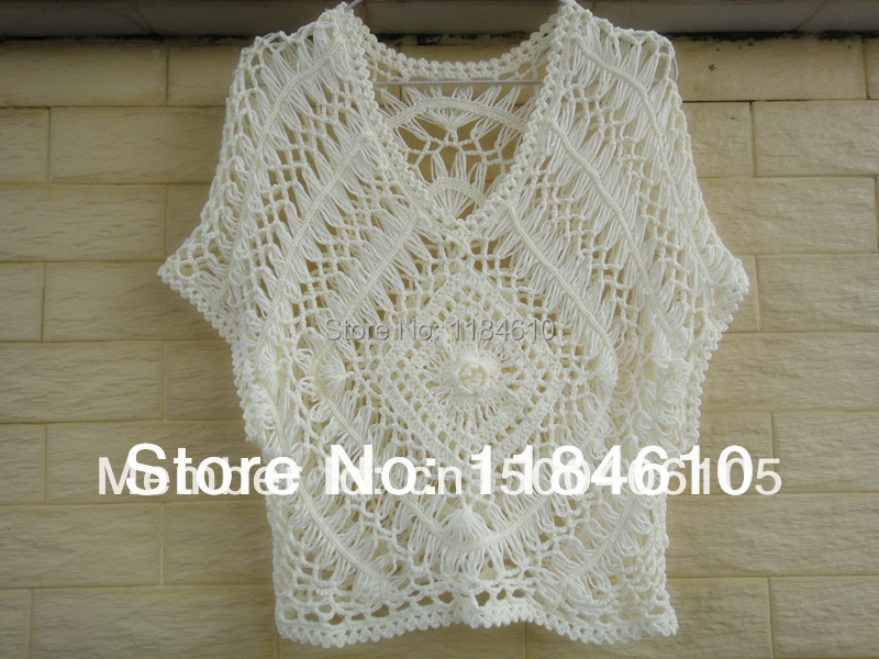 White Lace Blouse Summer Beach Cover Up Hairpin Circle Crochet