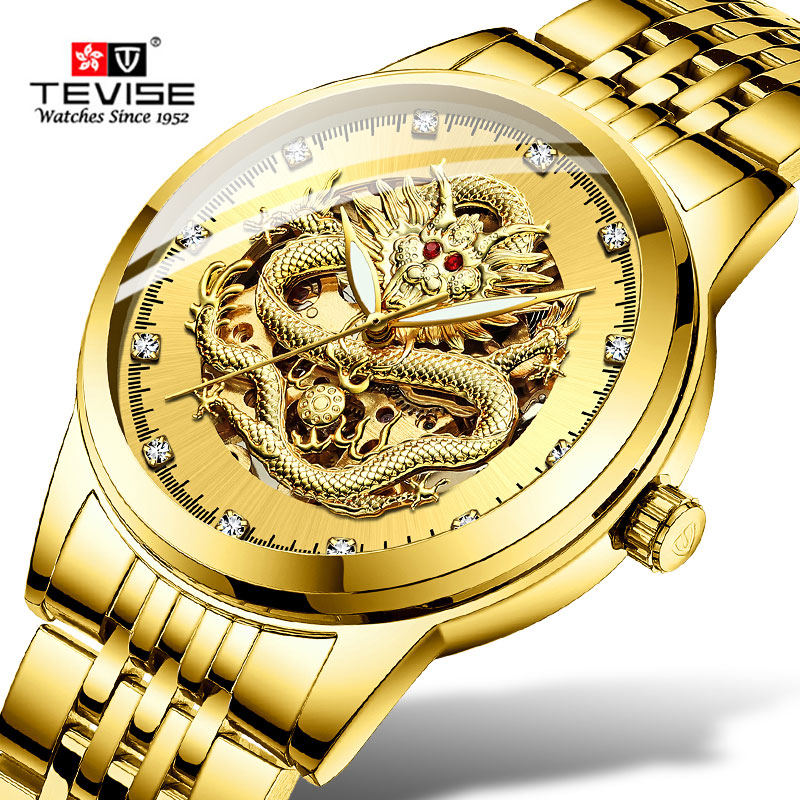 Men Watches Top Brand Tevise Business Gold Dragon Sculpture Mechanical Watch Women Steel Waterproof Wristwatch Relogio masculinoMen Watches Top Brand Tevise Business Gold Dragon Sculpture Mechanical Watch Women Steel Waterproof Wristwatch Relogio masculino