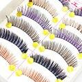 10 Pares/set Diferentes Cores Handmade Cílios Cílios Postiços Coloridos Do Partido Do Traje de Alongamento de Cílios Naturais