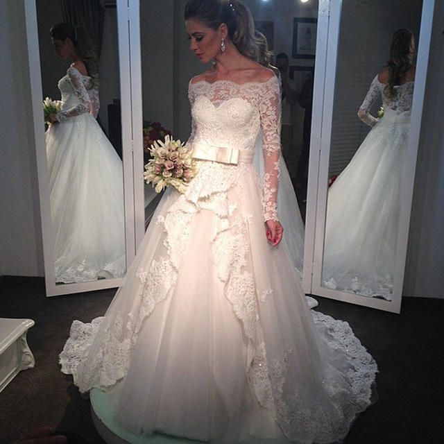 Elegant Long Sleeves Bridal Gown With Appliques Boat Neck Off Shoulder Casamento Plus Size White